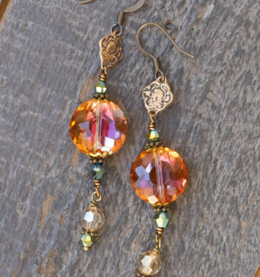 Apricot and Aqua Metallic Crystal Earrings