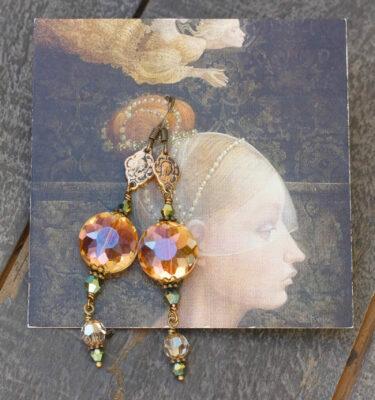 Apricot and Aqua Metallic Crystal Earrings