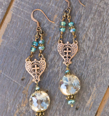 Champagne and Aqua Crystal Earrings 1
