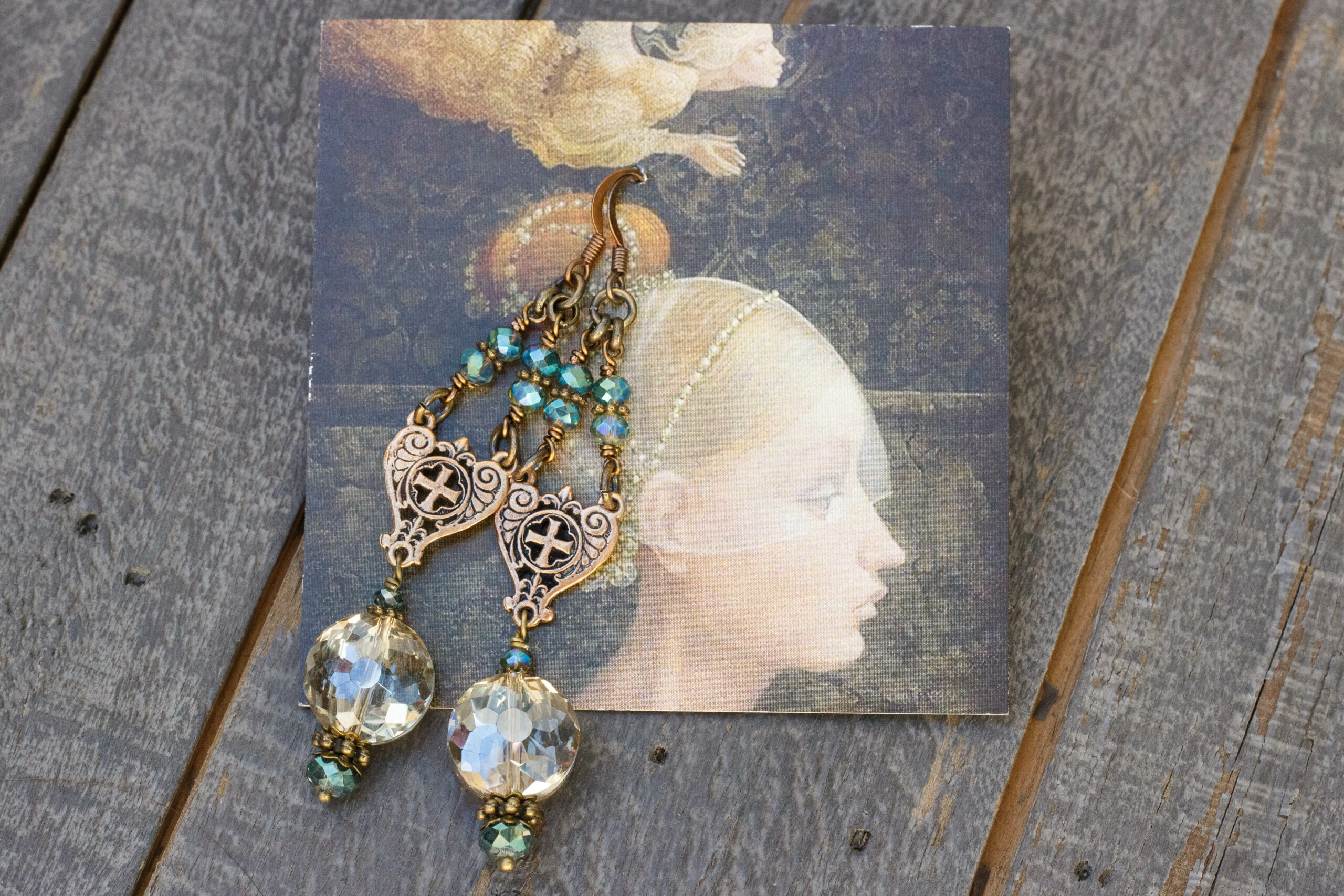 Champagne and Aqua Crystal Earrings 1