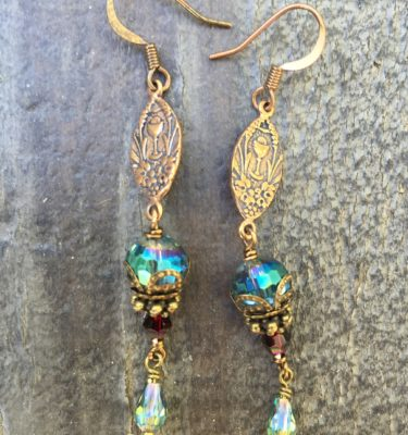 Faceted Aqua Crystal Earrings