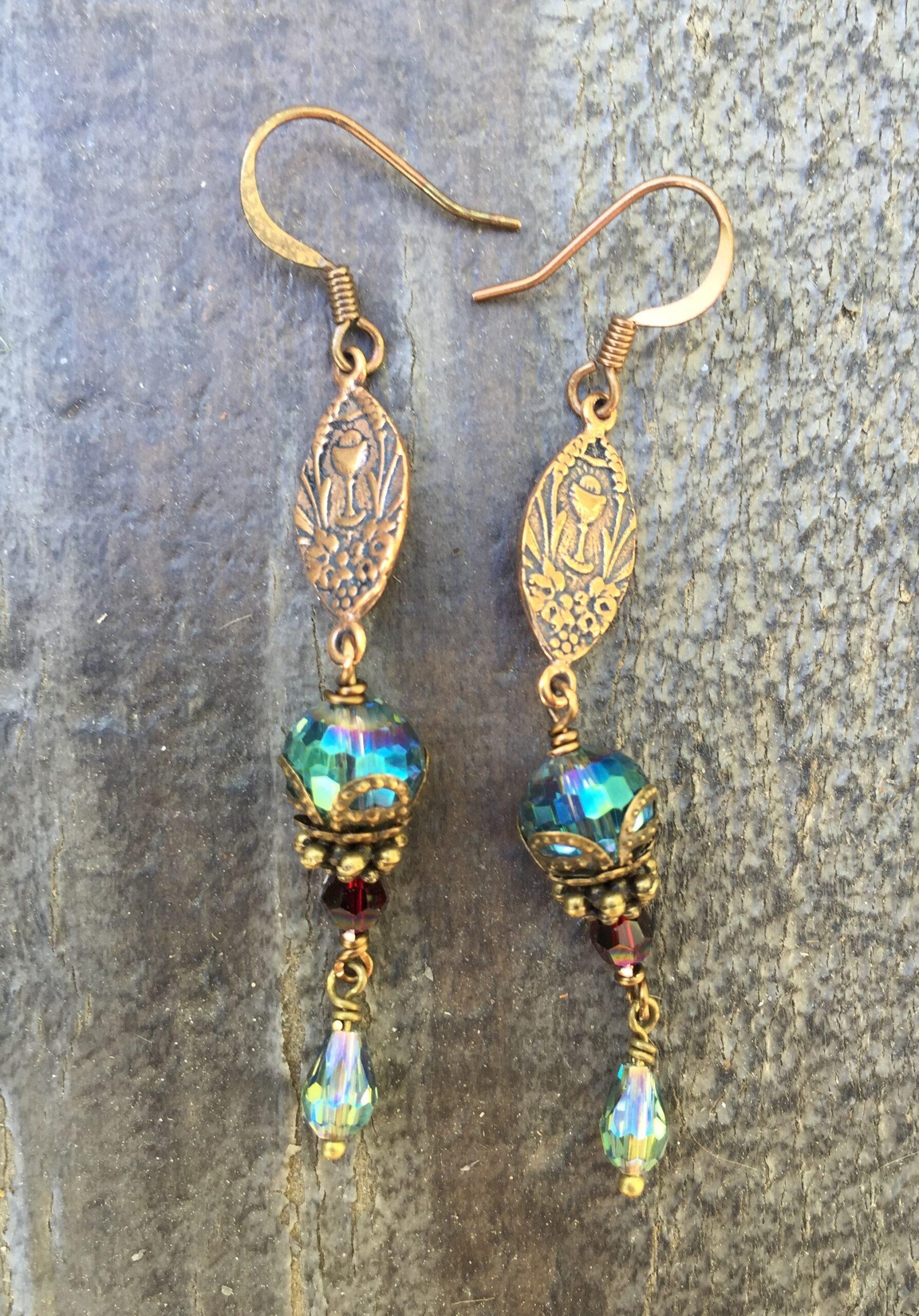 Faceted Aqua Crystal Earrings