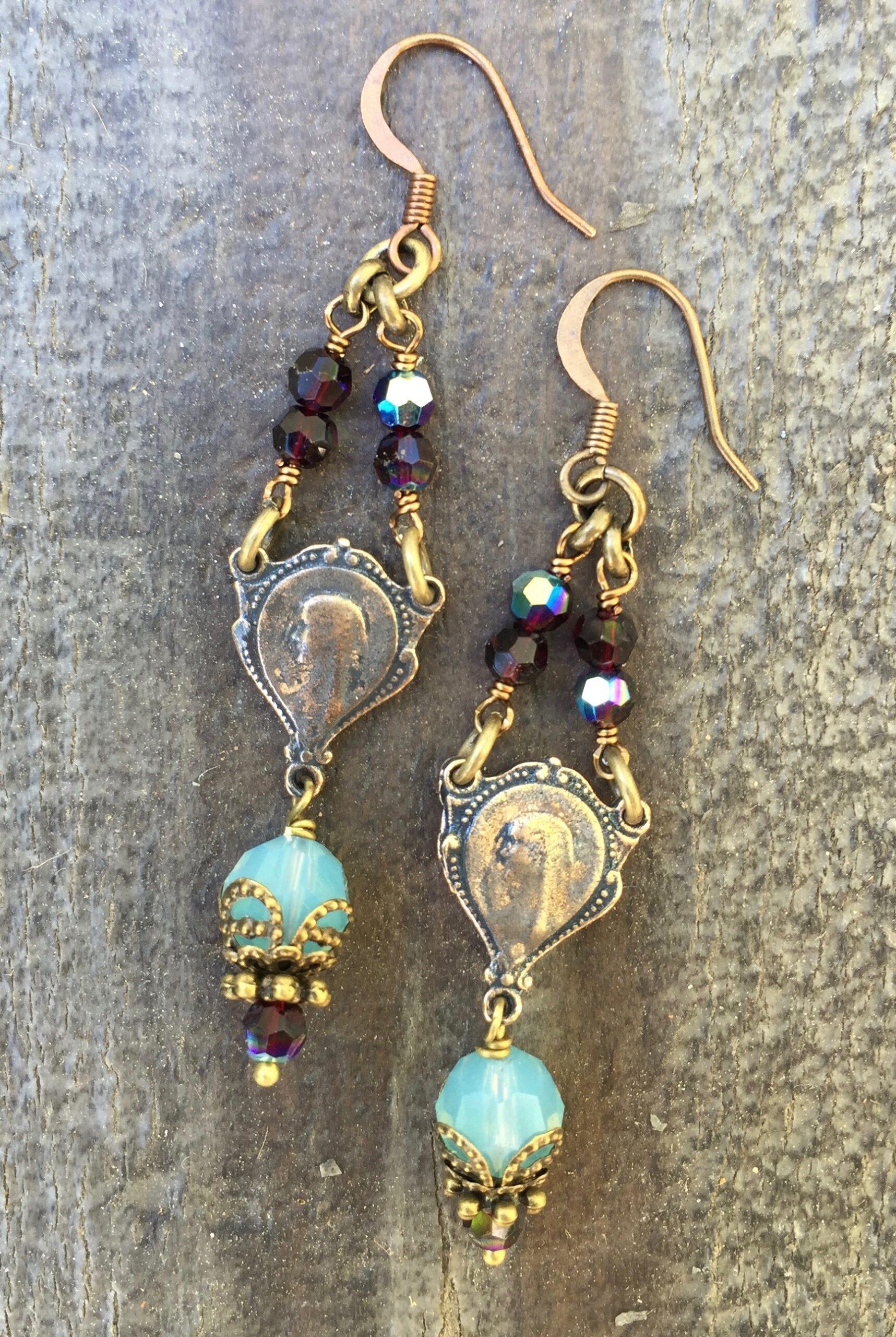 Faceted Cloud and Garnet Crystal Earrings