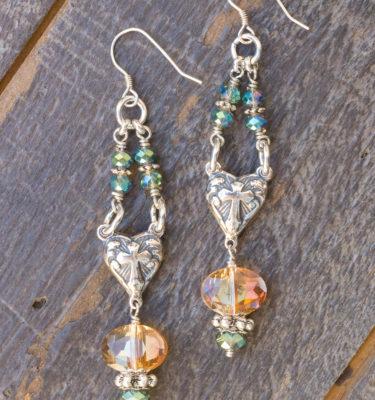 Apricot and Aqua Crystal Earrings – Cross Hearts