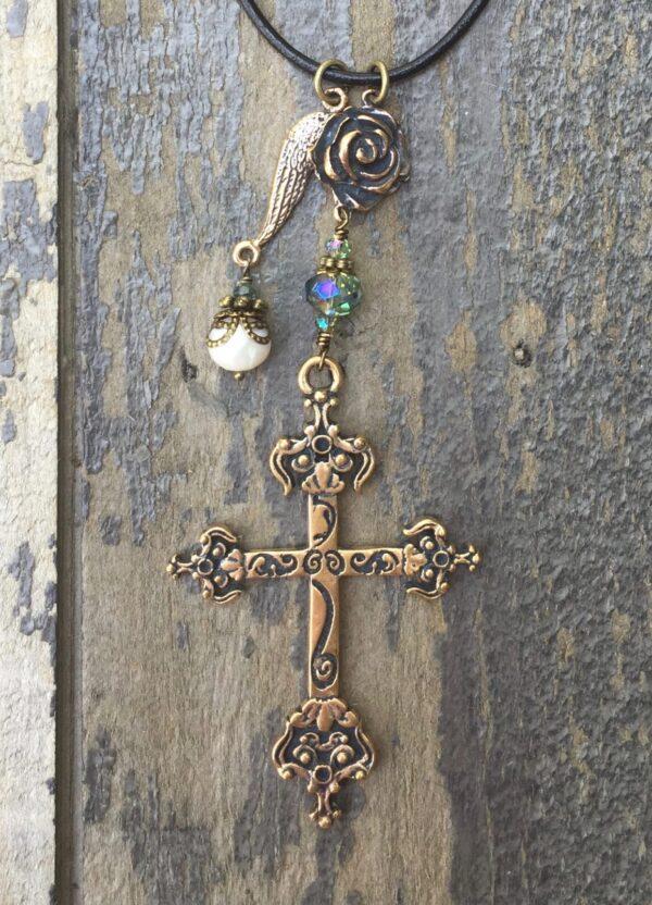 Necklace Of Faith – Aqua Crystals
