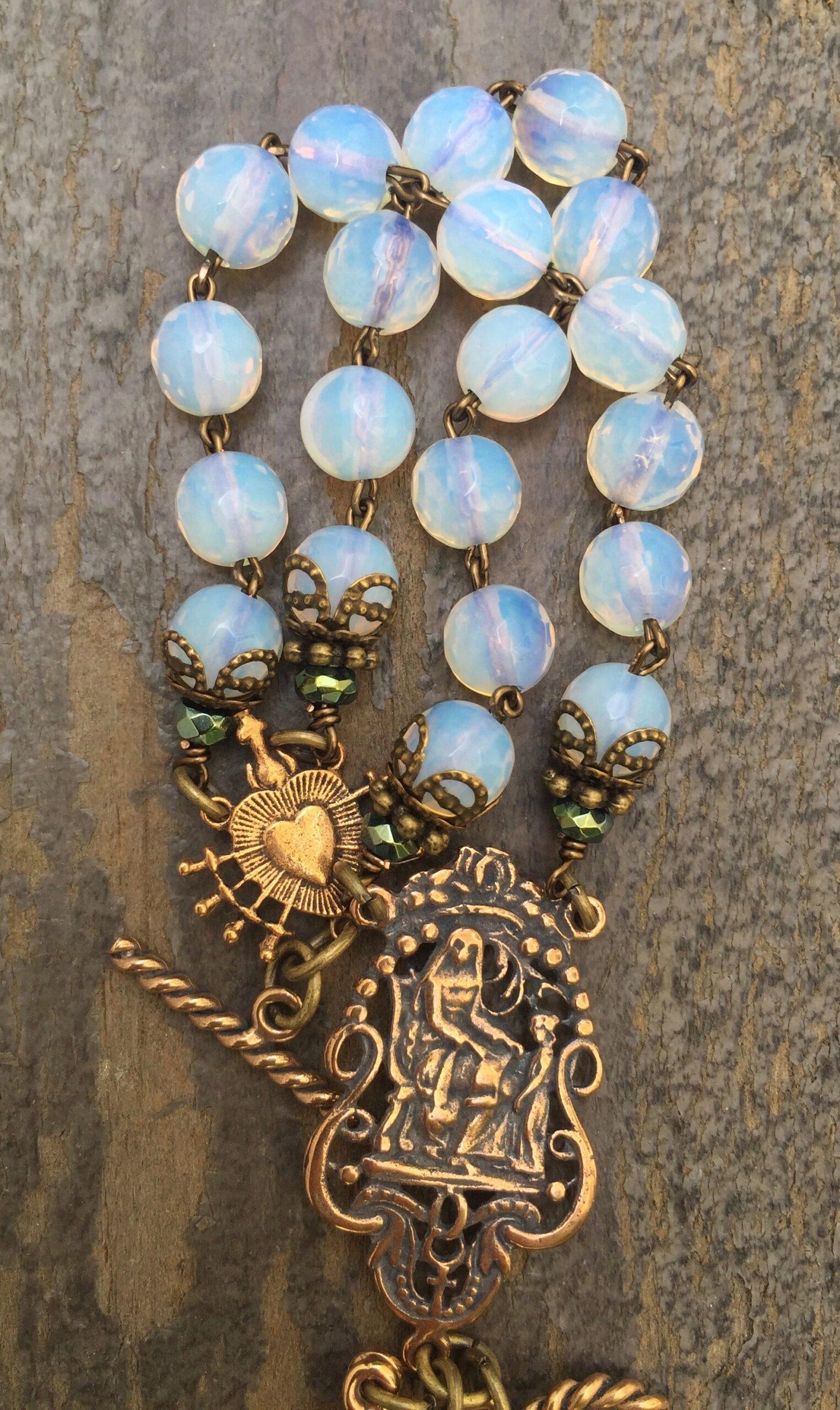 Natural Opalites and Aqua with Garnet Crystal Bracelet – 8mm