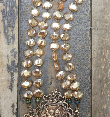 Champagne and Aqua Crystal Necklace – Our Lady of Mount Carmel