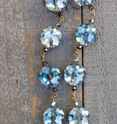 Blue and Charcoal with Topaz Crystal Necklace – 18mm