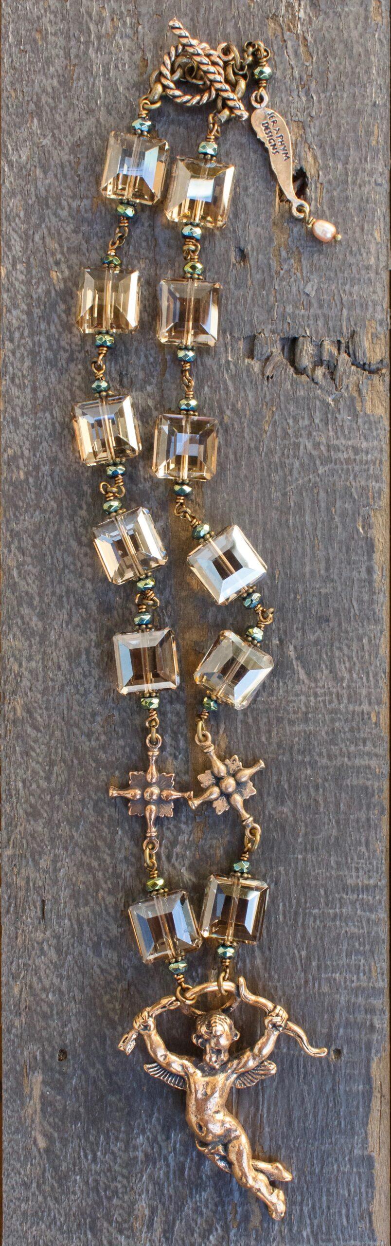 Champagne and Aqua Crystal Necklace – Cherub Angel 12mm