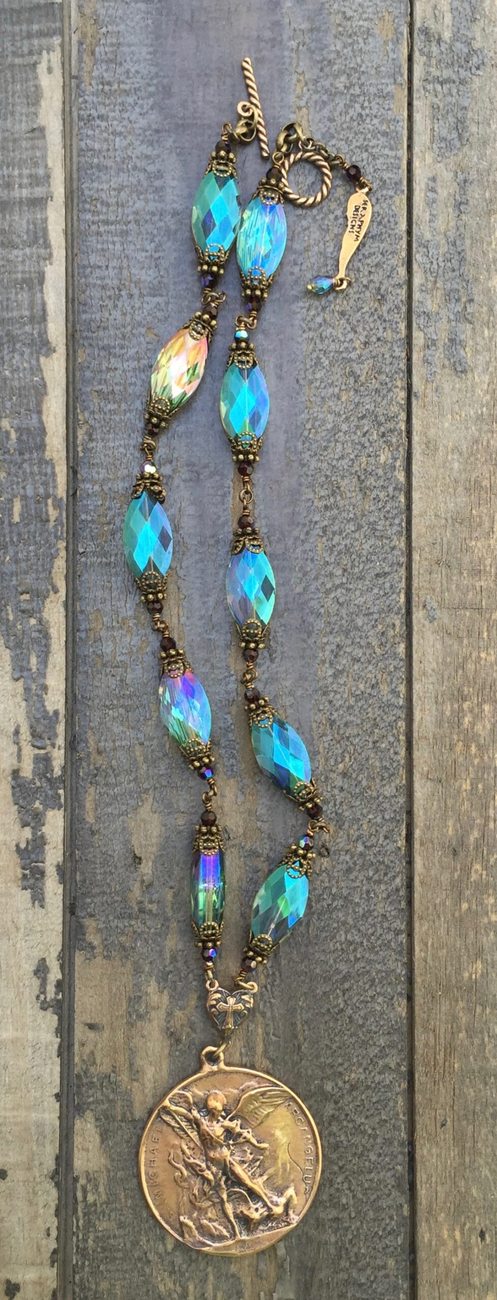 Aqua with Garnet Crystal Necklace – St Michael - 14x20mm