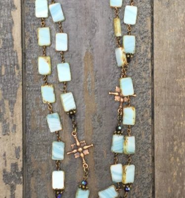 Turquoise Stone Glass with Garnet Crystal Necklace – 10mm