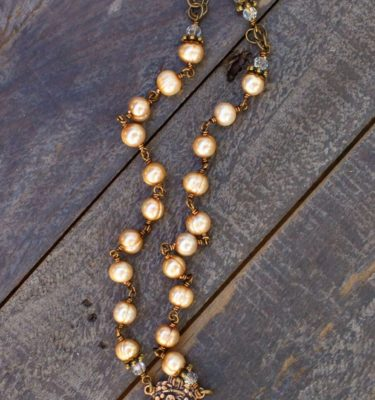 Gold Potato Pearl with Aqua and Clear Crystal Necklace – 6mm