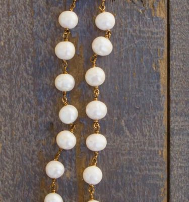 Cream Fresh Water Pearl with Aqua Crystal Necklace – Blessed Mother Mary