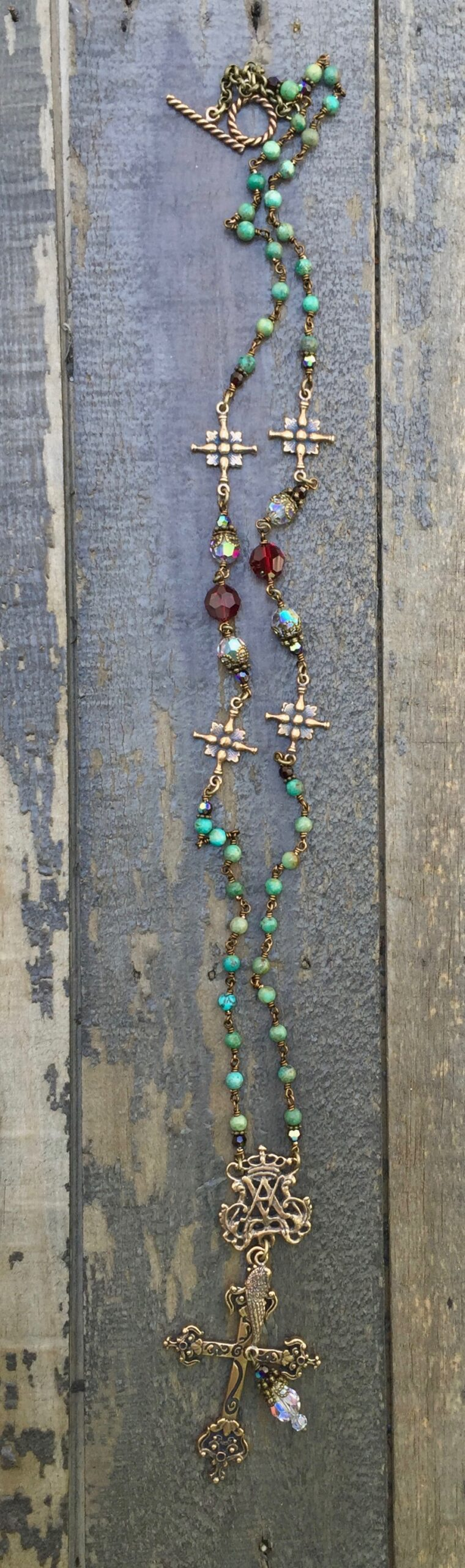 Natural Turquoise with Clear and Garnet Crystal Necklace – 4mm