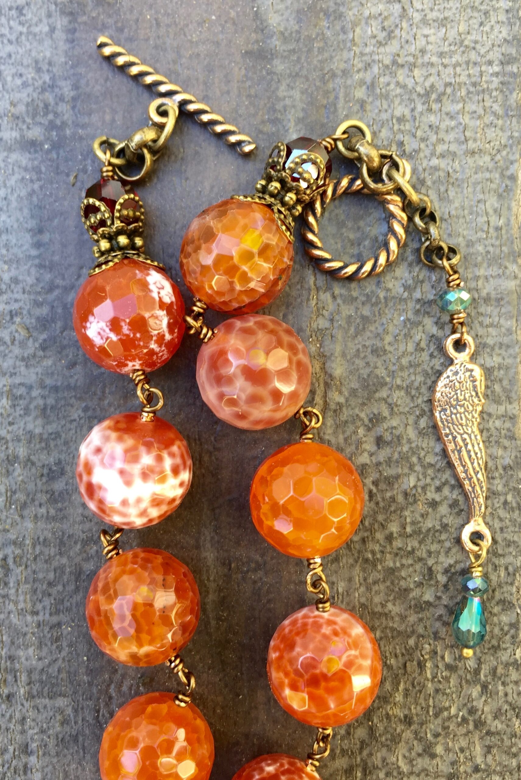 Faceted Carnelian Quartz with Garnet Crystal Necklace – 12mm