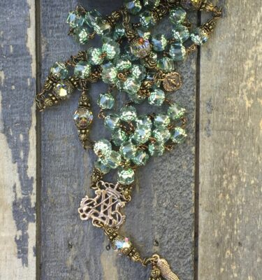 Mint Glass Rosary – 8mm