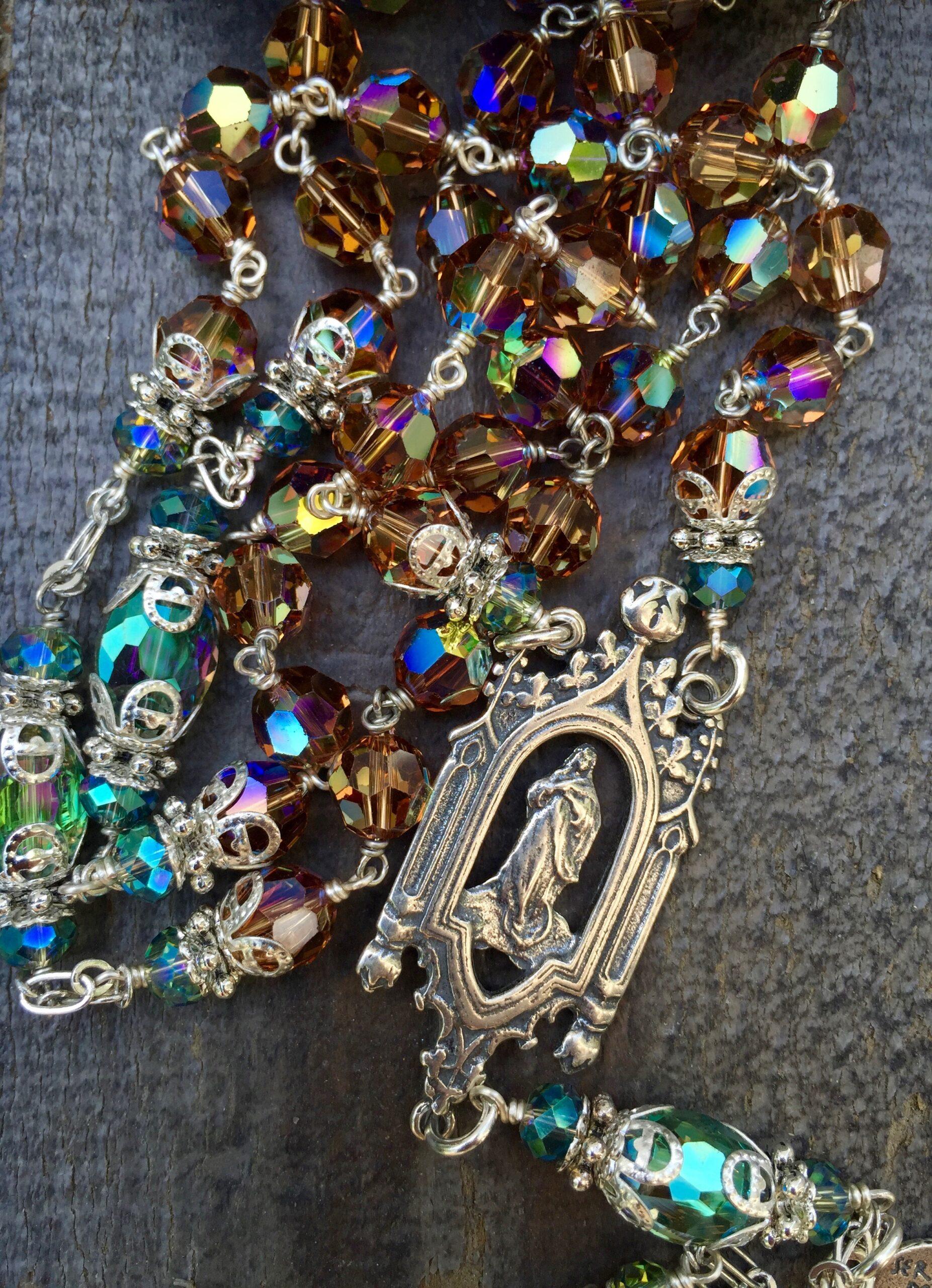 Amber Topaz Crystal Rosary – 8mm