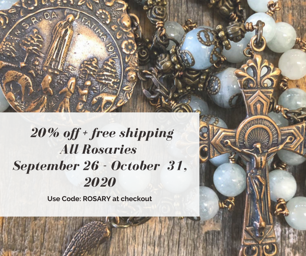 20% off + free shipping all rosaries with code: ROSARY